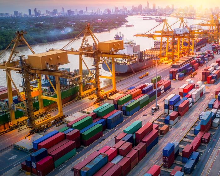 Cranes At A Shipping Yard