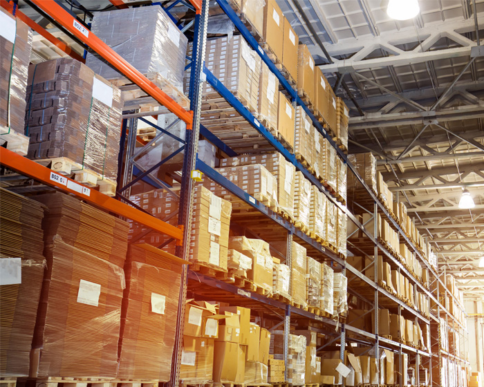 Shelves And Products In A Warehouse