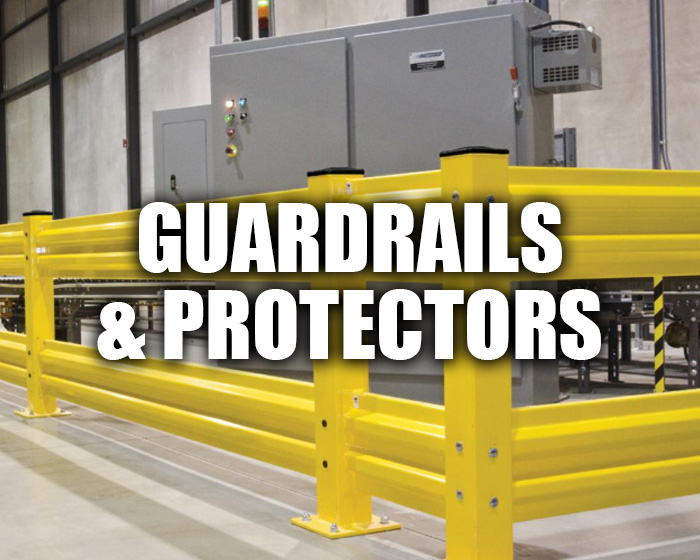 Yellow Guardrails In An Industrial Setting