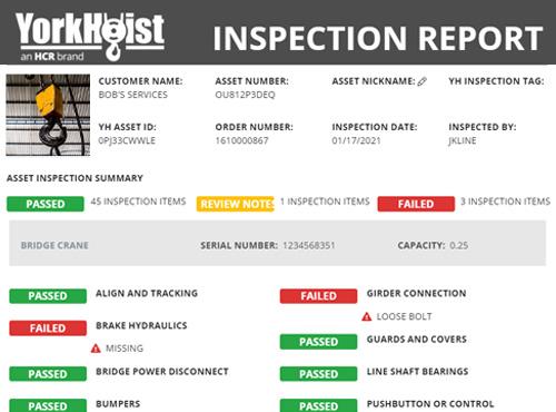 Screenshot Of A Yorkhoist Customer Inspection Report