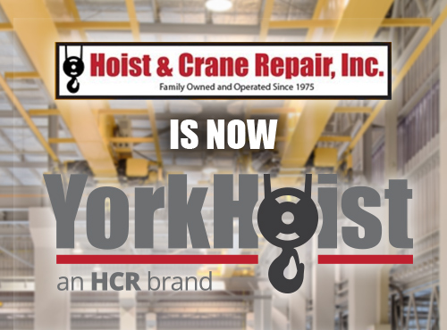 Old Hoist & Crane Repair Logo And New, Rebranded YorkHoist logo