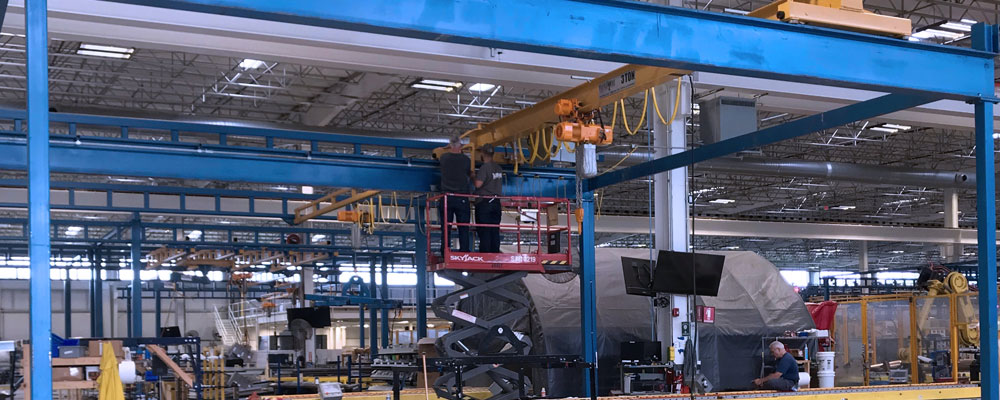 Overhead Crane In A Warehouse