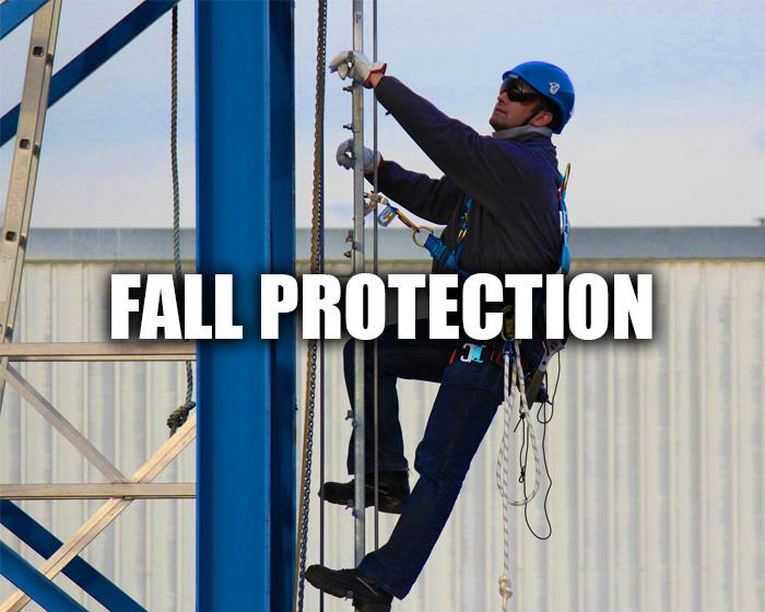 Man Climbing A Scaffold, Wearing Fall Protection Gear