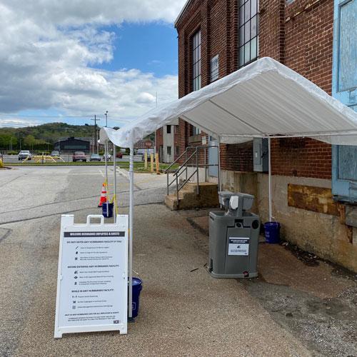 Sanitizing Station Outside Yorkhoist Manufacturing Facility